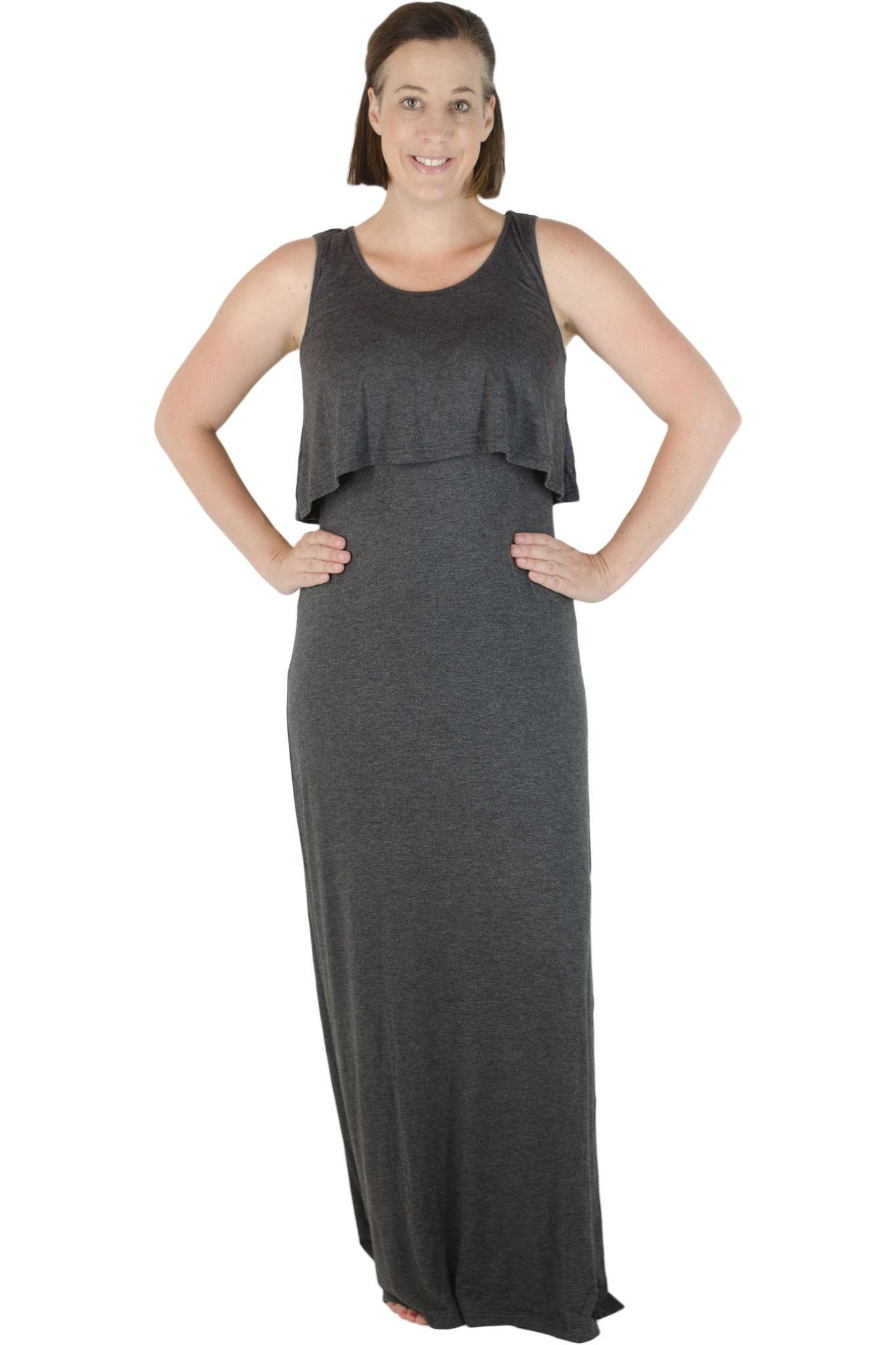 ee39ca16126 Latched Mama Ruffle Front Nursing Maxi Dress