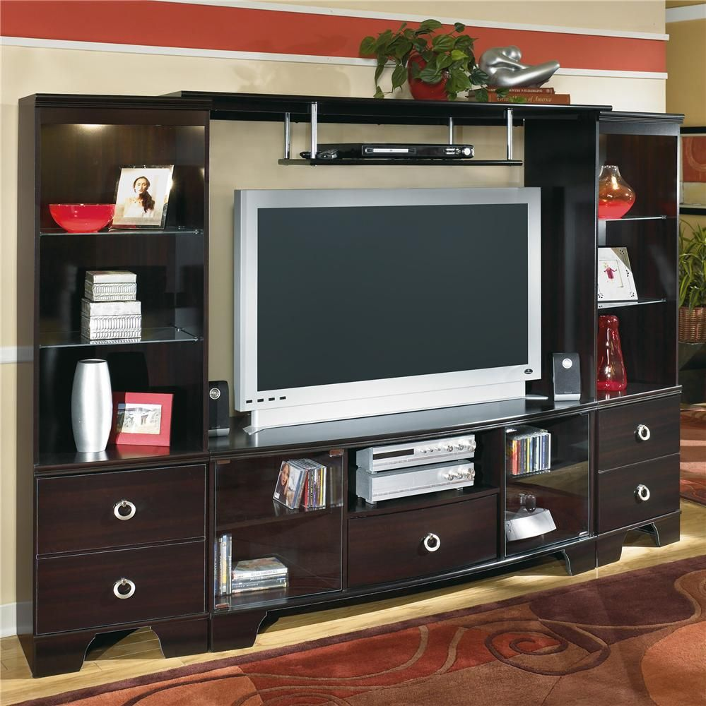 center set piece warehouse sale home charcoal row springfield ashley furniture il fireplace entertainment console