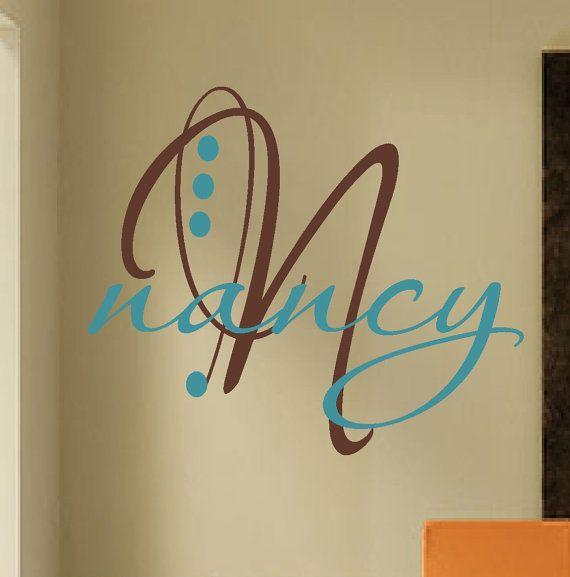 Large Monogram Fancy Initial Vinyl Wall Lettering Vinyl Wall - Custom vinyl decals quotes beginning business
