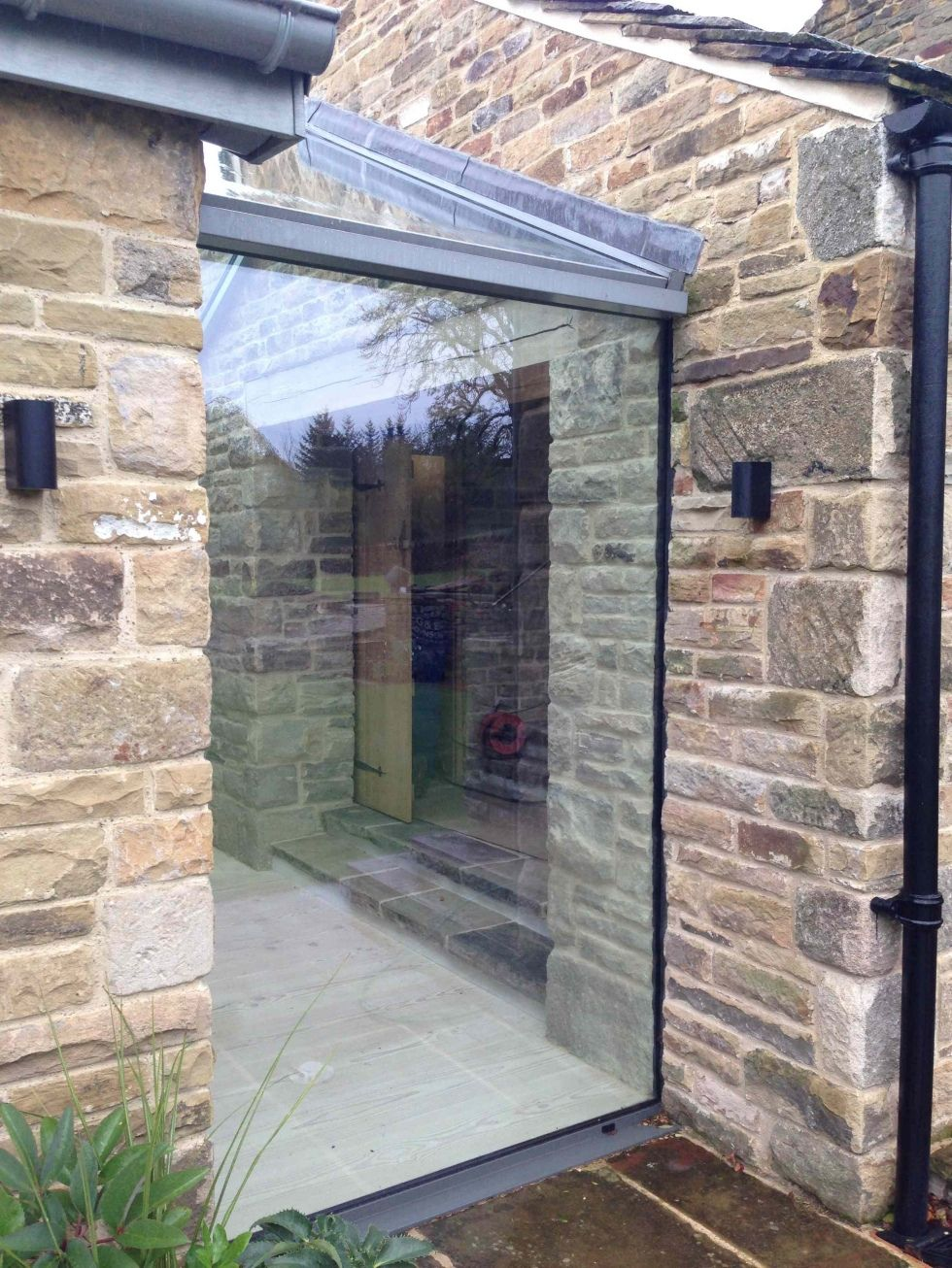 Glass window blended into stone … | House design, Building ... |Stone Glass Window