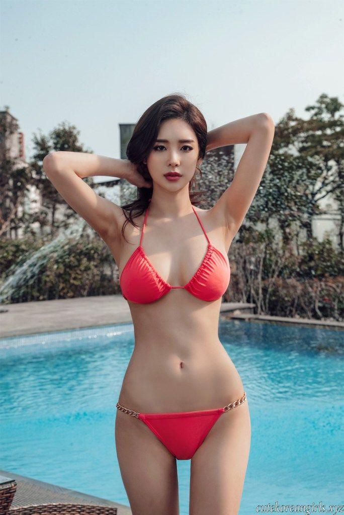 Park Da Hyun Red Bikini Cute Korean Girls Beautiful Women