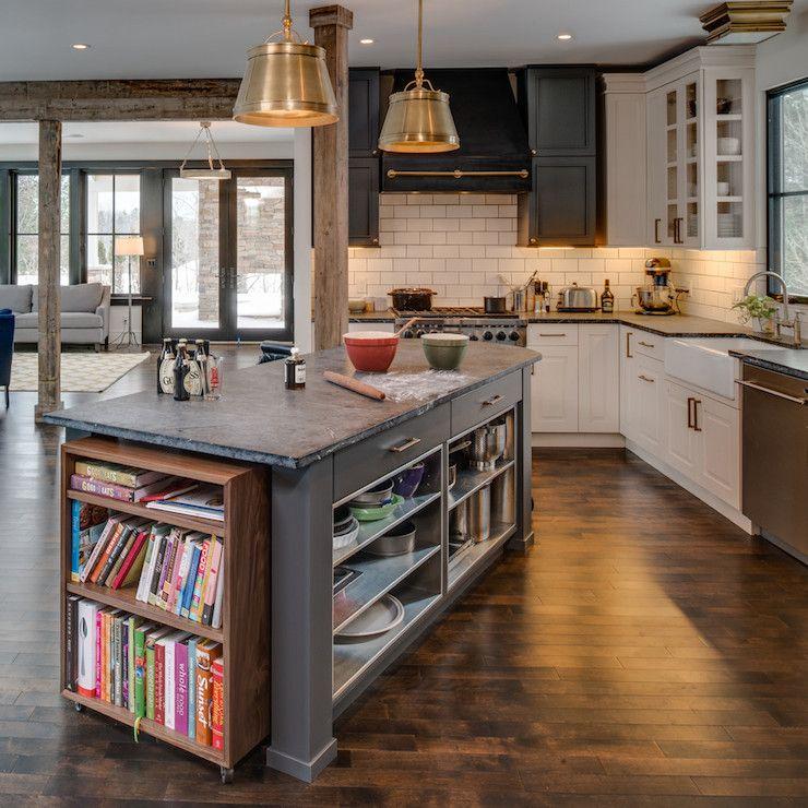 Gourmet Kitchen Definition: Gourmet Kitchen With Angled Gray Kitchen Island Which