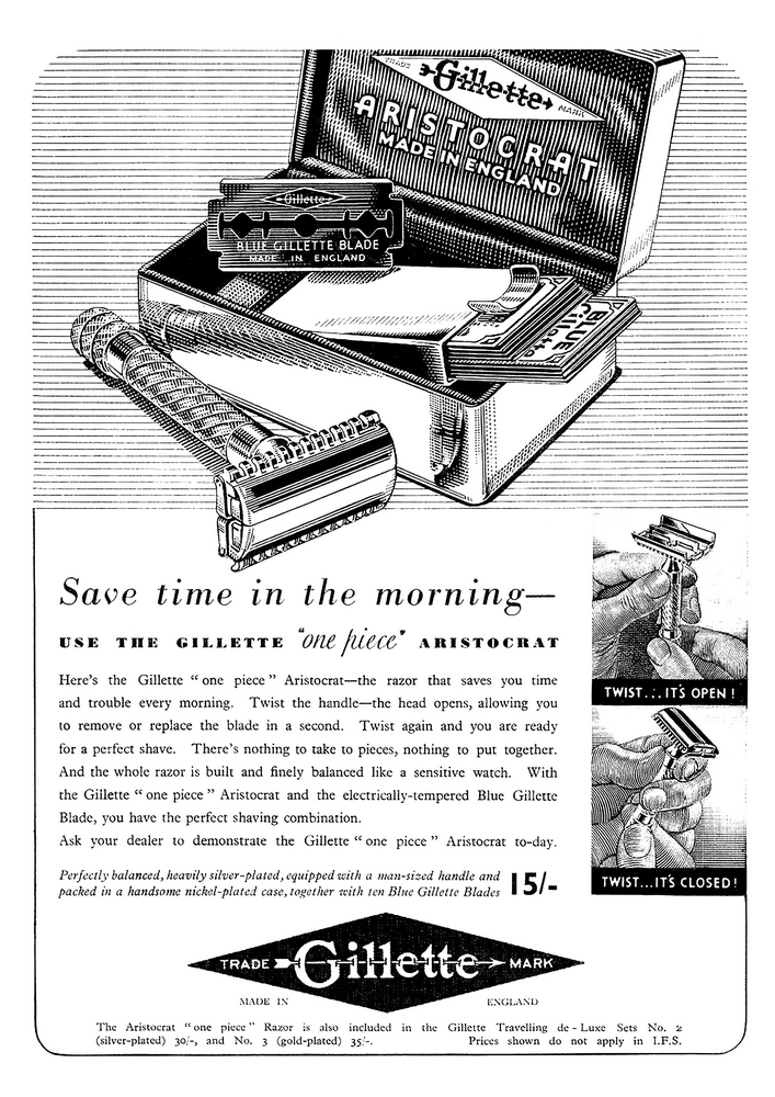 Reproduction poster New Gillette shave Wall art. Vintage Newspaper advert