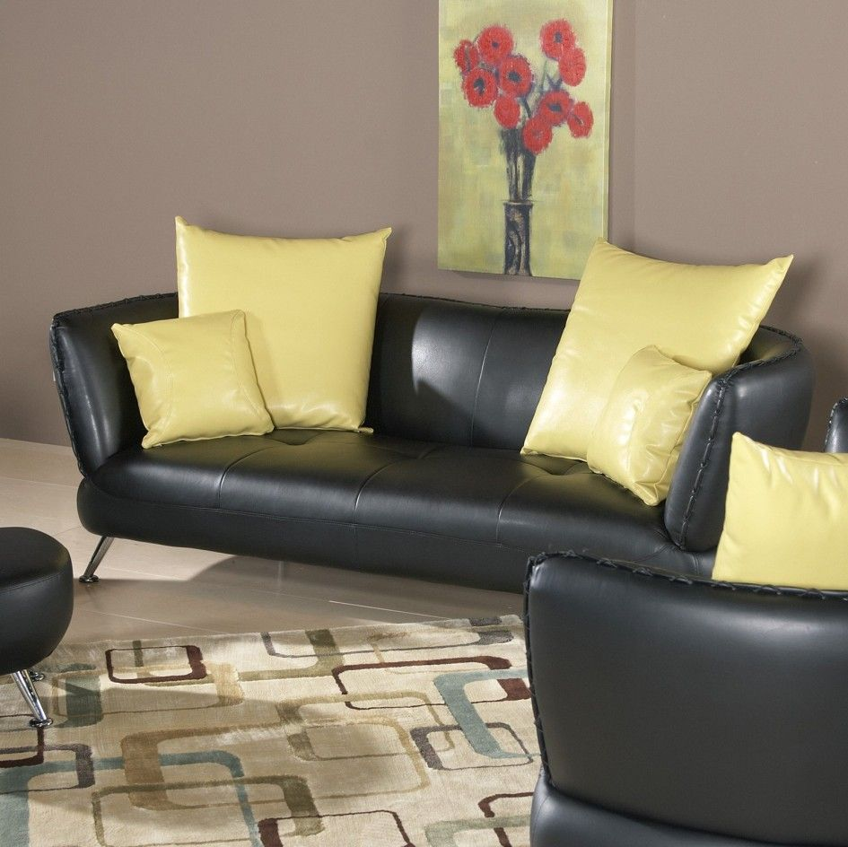 Featured Elegant Living Room Furniture Ideas Along With Black Leather Sofa Decorate Decorating Cool Yellow Accent Also Floral Painting