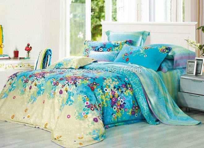 Yellow And Blue Floral Bedspread Light Blue Bedding