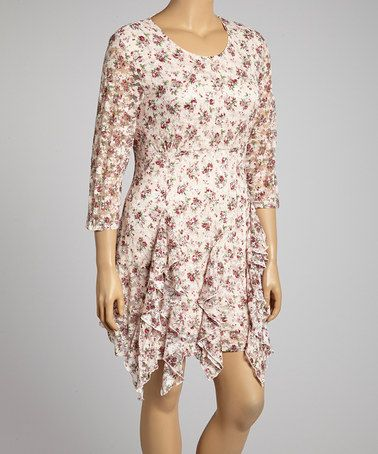Look what I found on #zulily! Pink Floral Handkerchief Hem Dress - Plus by Lady Noiz #zulilyfinds