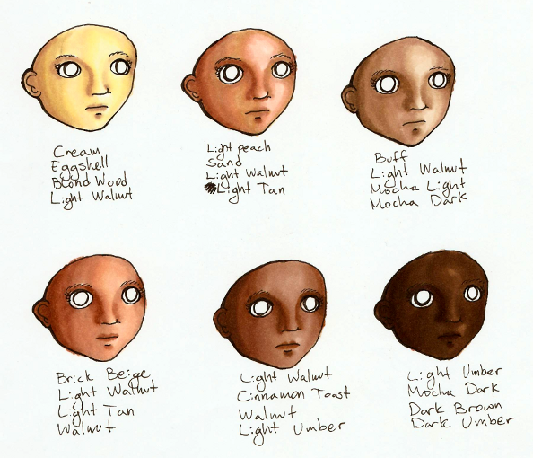 prismacolor markers skin tones tutorial | ... six ranges of facial ...