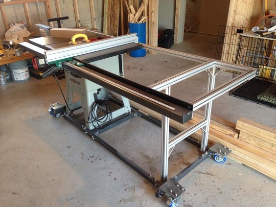 Table Saw Upgrade New Fence Rail With Steel And 80 20 Aluminum Table Custom Mobile Base Diy Table Saw Diy