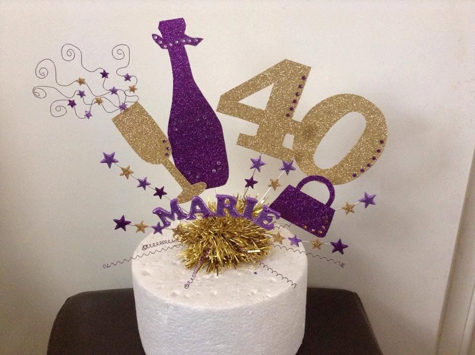 Large champagne bottle and glass cake topper or centre ...