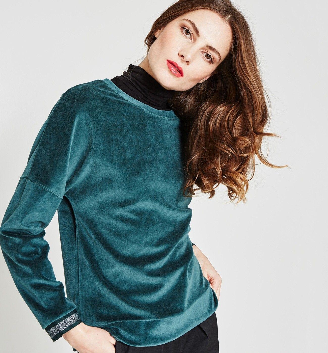 222a1d40e01b60 Sweat-shirt en velours éponge - Vert émeraude - Pulls et gilets ...