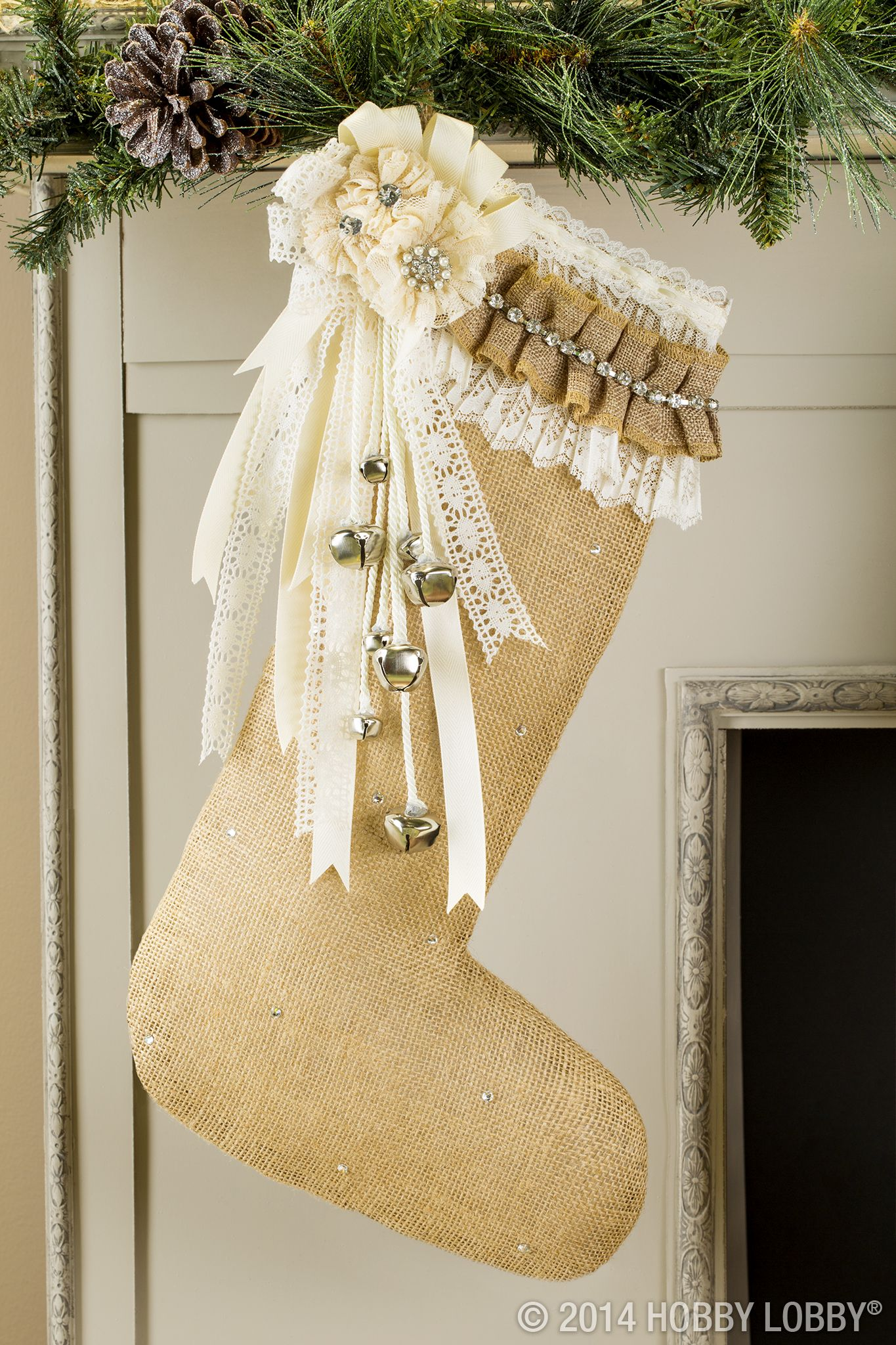 Create a Christmas stocking of your own for a magical fireplace display!