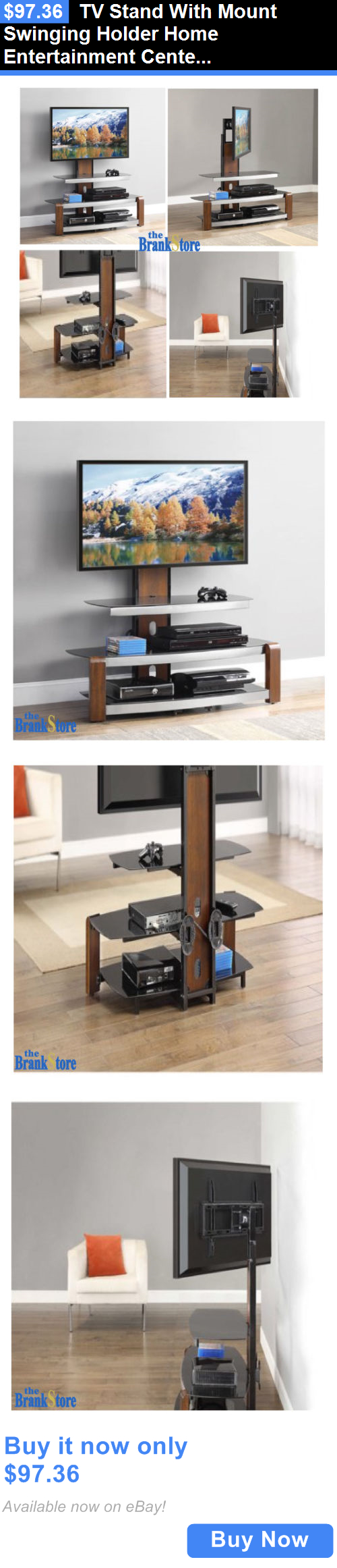 Entertainment Units TV Stands: Tv Stand With Mount Swinging Holder Home  Entertainment Center Wood Glass