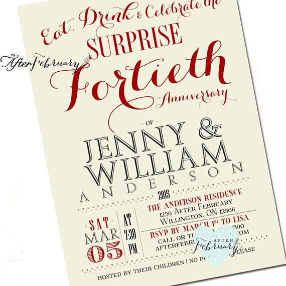 Surprise 40th Anniversary Invitation 40th By AfterFebruary