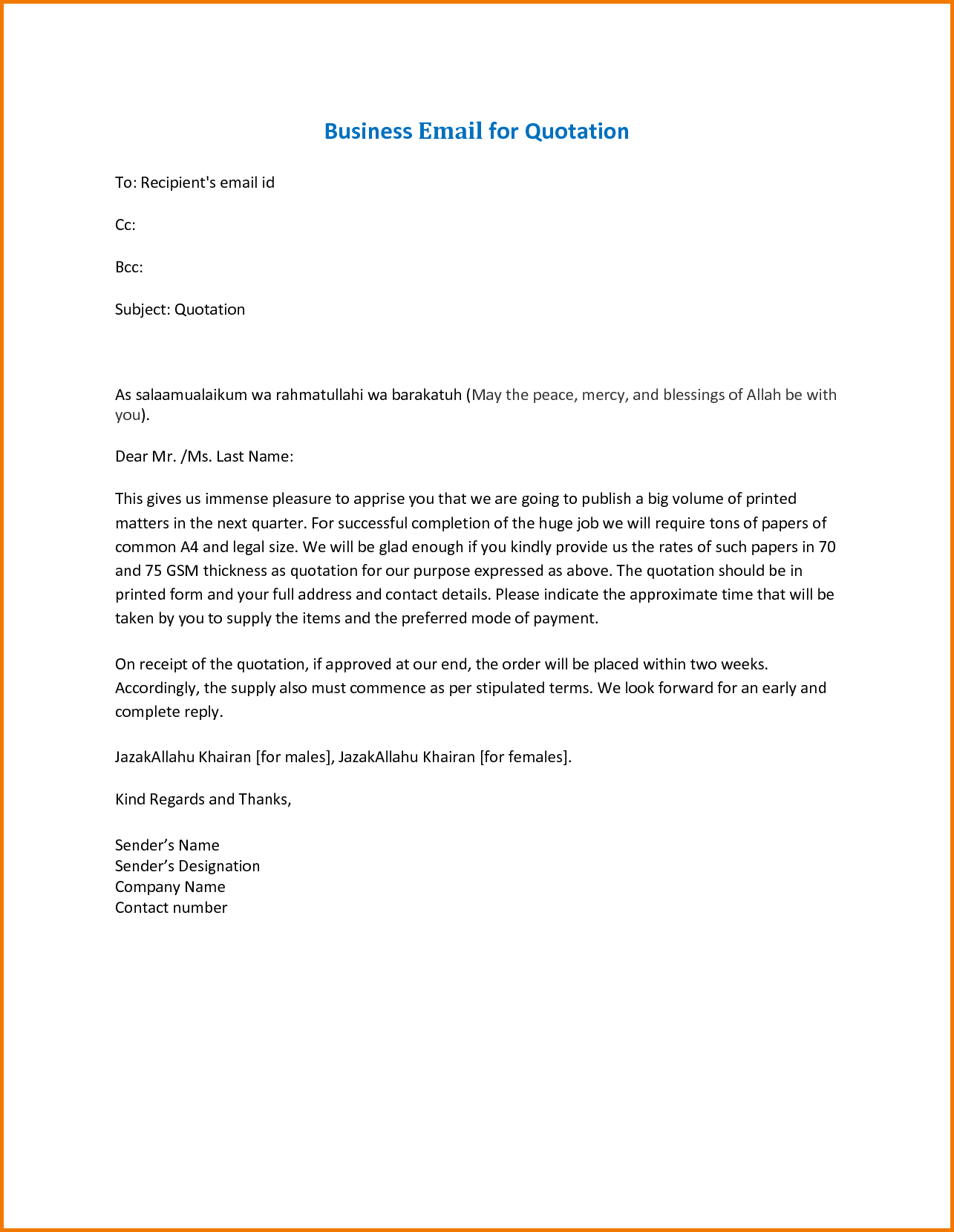 Formal Business Email Format Sample Financial Statement Form