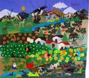 Peruvian Wall Hanging Harvest Cuadro Cosecha 17 X19 Folk Art Painting Art Quilts Art Lessons