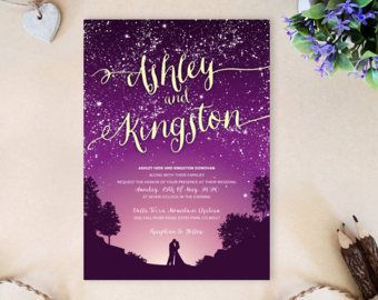 PRINTED | Bride and groom wedding invitation suite | starry night, moon