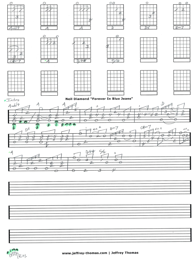 Forever In Blue Jeans By Neil Diamond I Started The Guitar Tab For