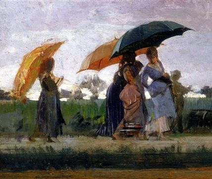 """Cristiano Banti (Italian, 1824 – 1904) - """"Passeggiata sotto la pioggia"""" (Walking in the rain) [detail], c. 1880 - Oil on panel"""