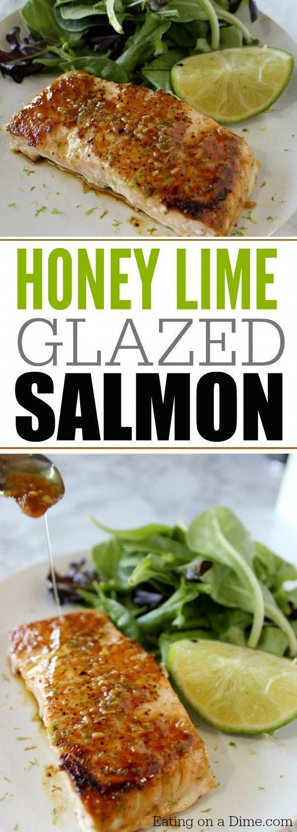 Honey Glazed Salmon with lime images