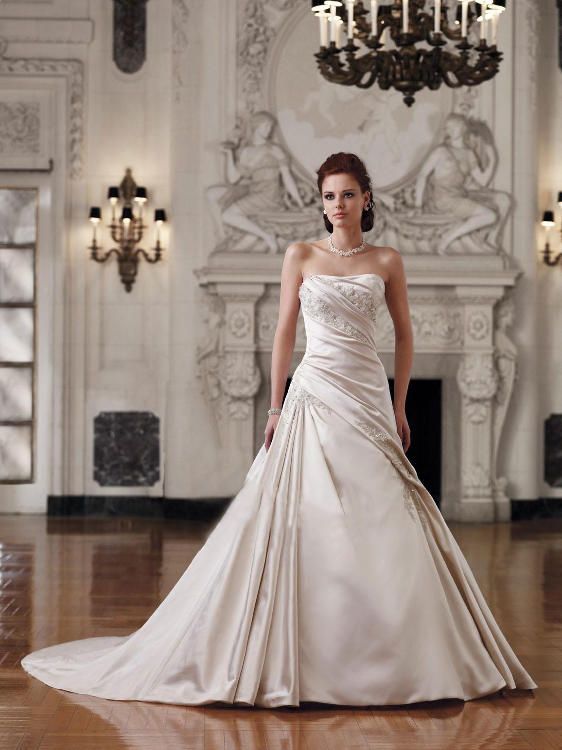 Stunning strapless satin aline wedding dress amanda lynn