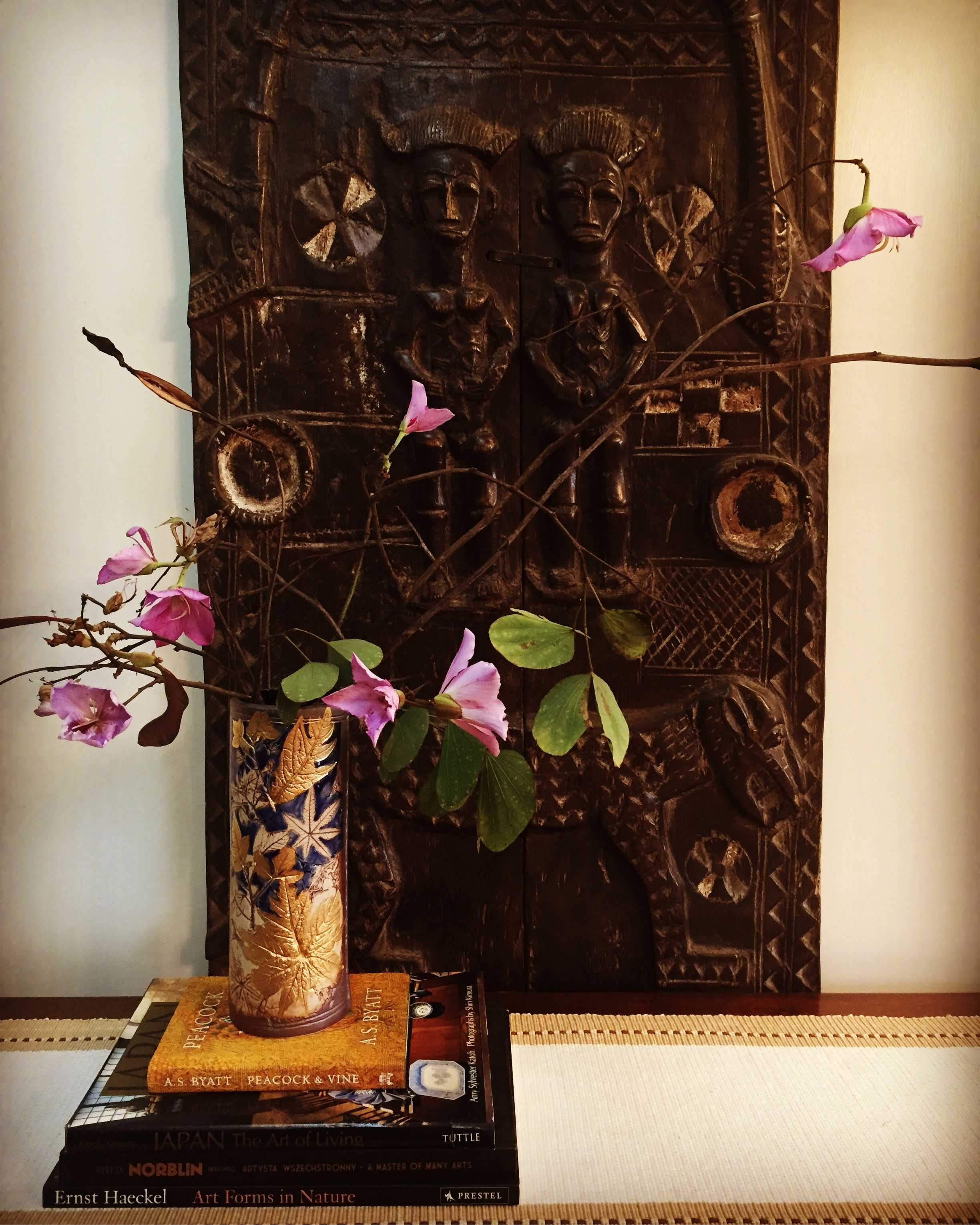 vignette from my home wooden carved screen from mali in the
