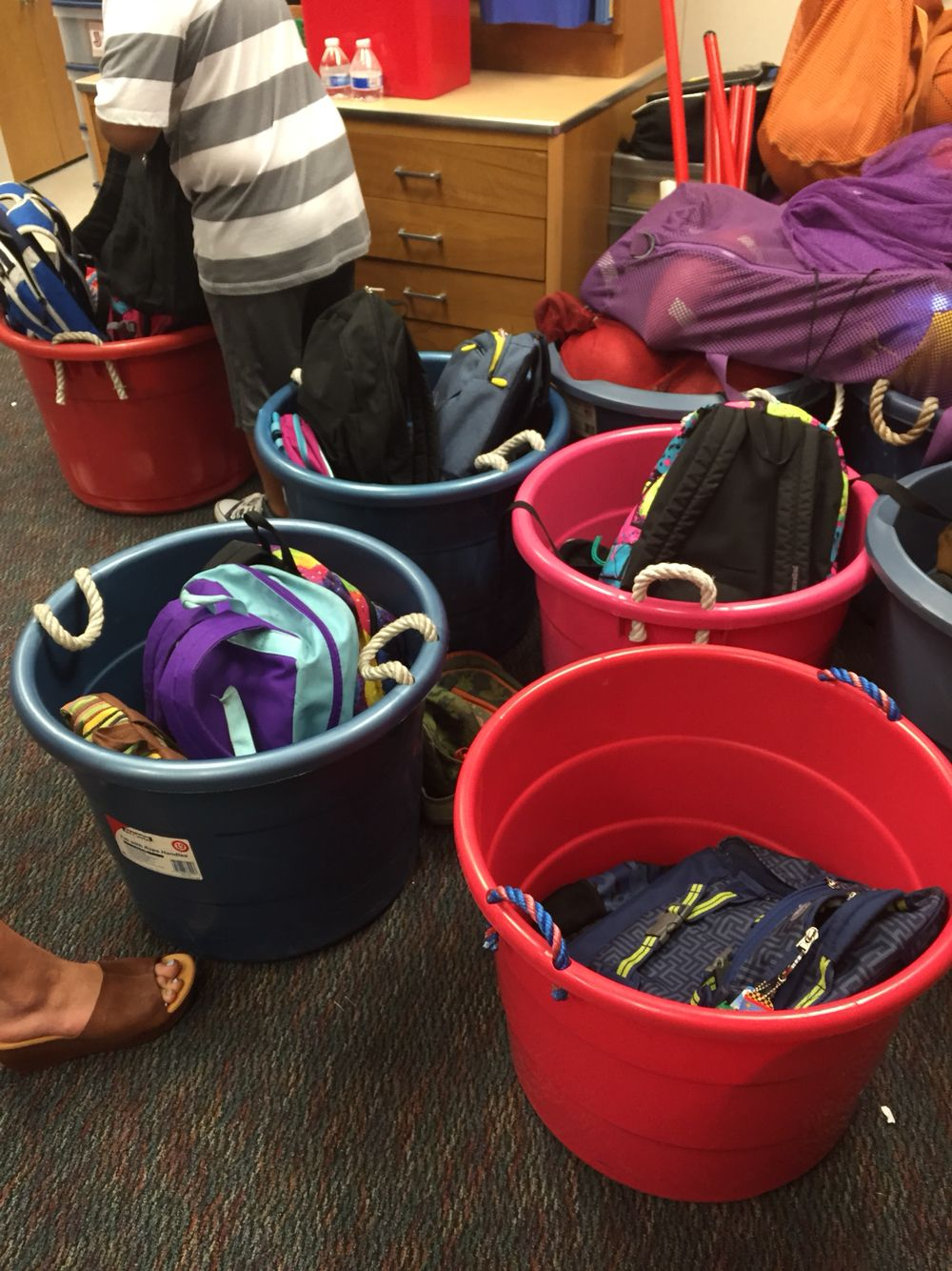 A good way to store backpacks out of the way Classroom