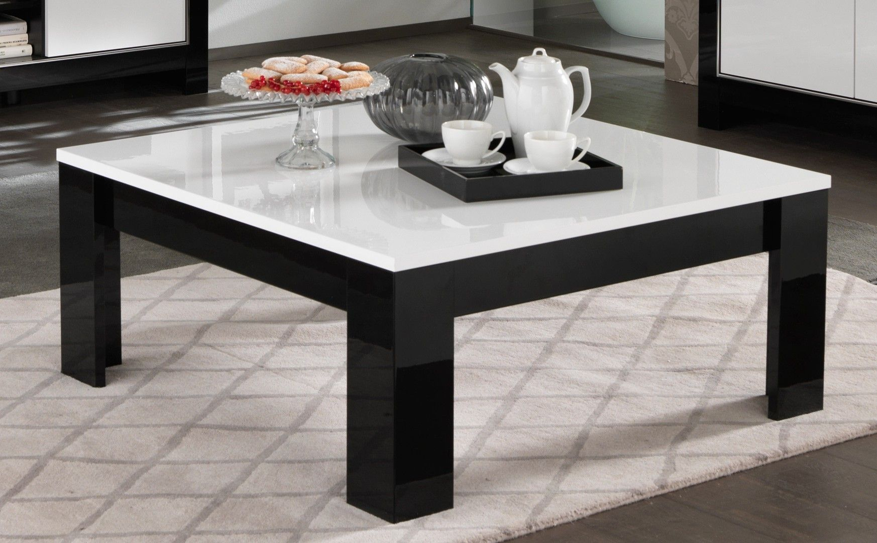 Table Basse Carrée Design Laquée Blancnoir Savana Tables Basses
