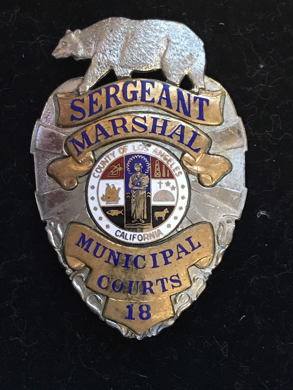 Los Angeles County Marshal Sergeant Entennman Rovin Police Badge Police Memorial Fire Badge