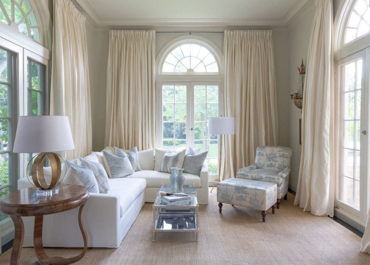 Latest Curtain Design For Living Room 2016 Dark Wood Furniture Curtains Ideas Chic Classic Desogn The Mansion S Finished In White With Arched Window
