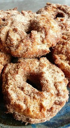 Apple Orchard Cider Doughnuts ~ The apple cider flavor is there & the spices are just right. But what I really like is the slightly crisp outside & tender inside. I used a cinnamon sugar on all of them, it's my favorite!