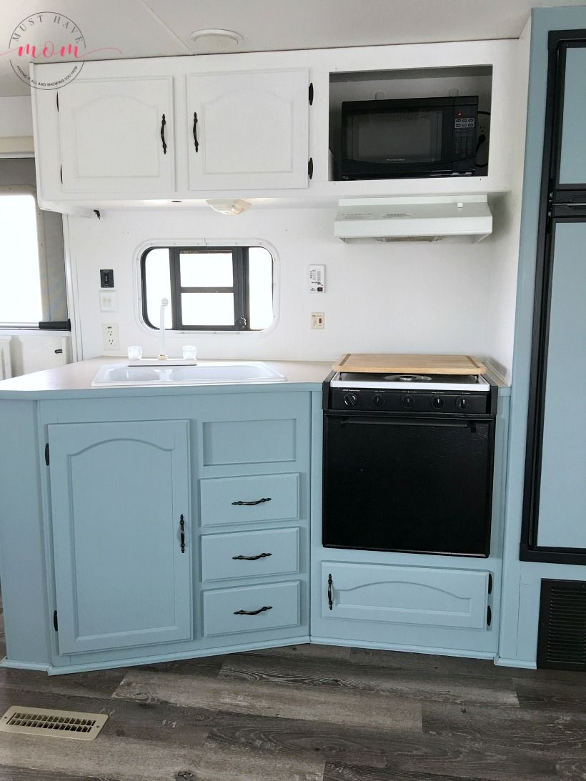 Easy Rv Makeover With Instructions To Remodel Rv Interior Paint Rv Walls Paint 2 Tone Kitchen Cabinets Love Rv Kitchen Remodel Rv Makeover Camper Makeover