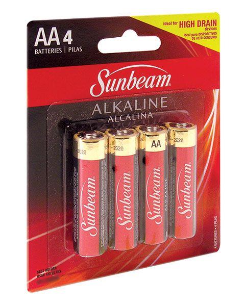 Sunbeam Alkaline AA Batteries, 4-ct. Packs