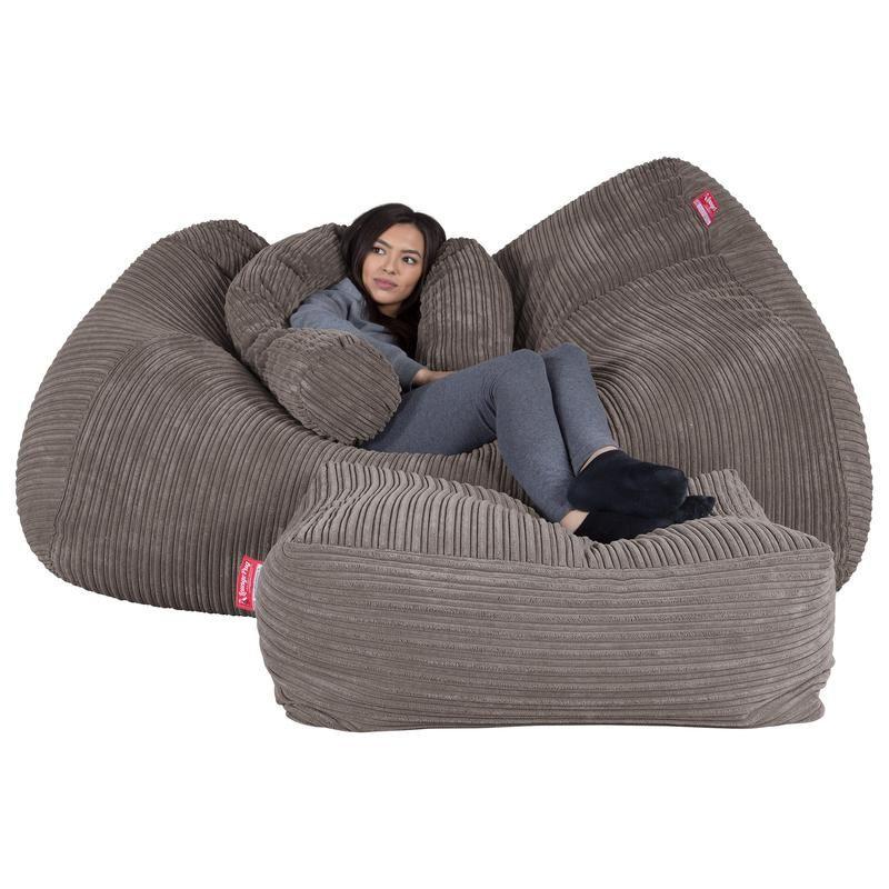 LOUNGE PUG Graphite Grey Giant Bean Bag Sofa Mega Beanbag Sofa UK Cord – Big Bertha Original UK