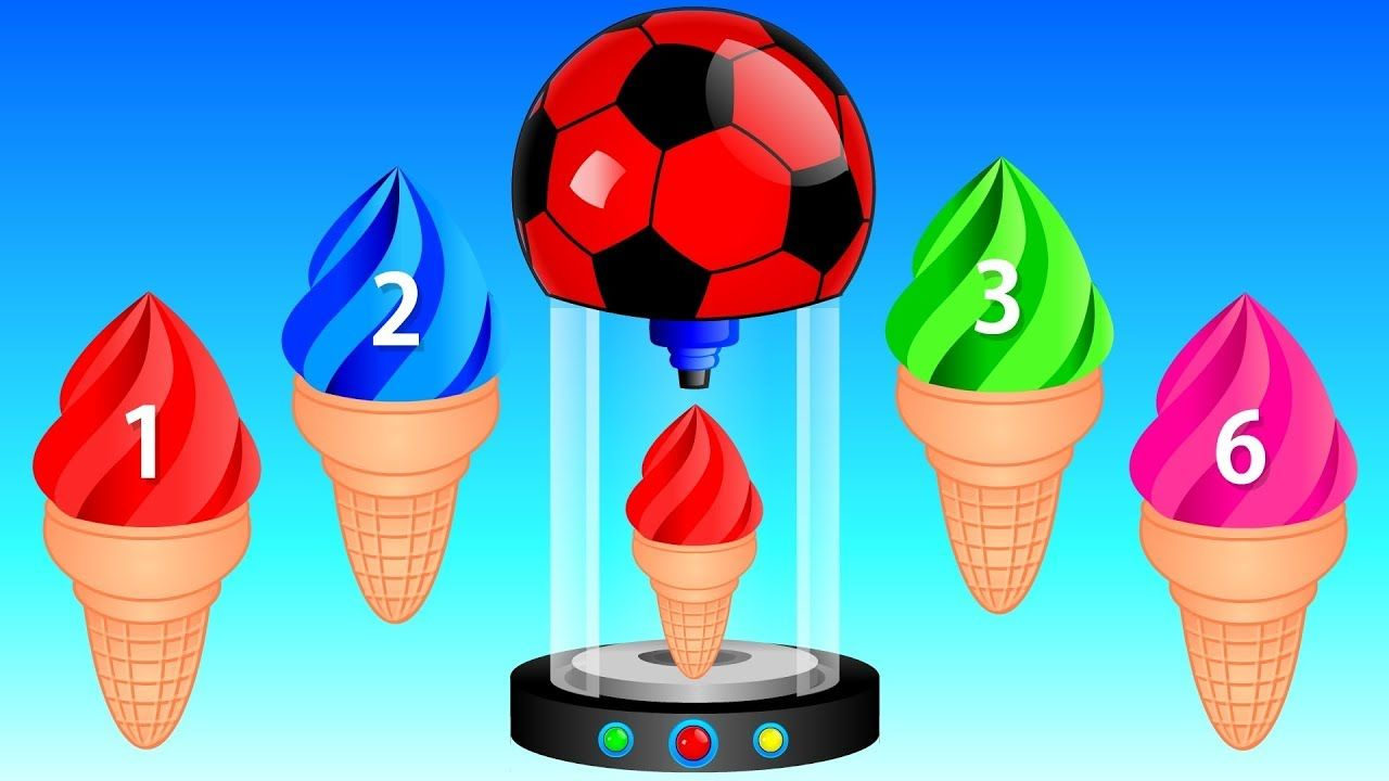 Learn Colors for Kids with Ice Cream Numbers Soccer Balls Kids ...
