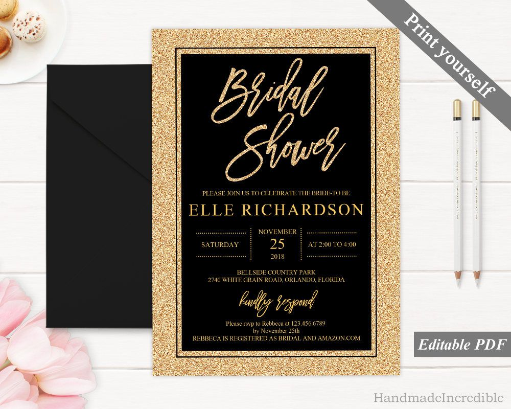 Black And Gold Bridal Shower Invitation Template Printable B Bridal Shower Invitations Printable Gold Bridal Shower Invitations Bridal Shower Invitation Cards