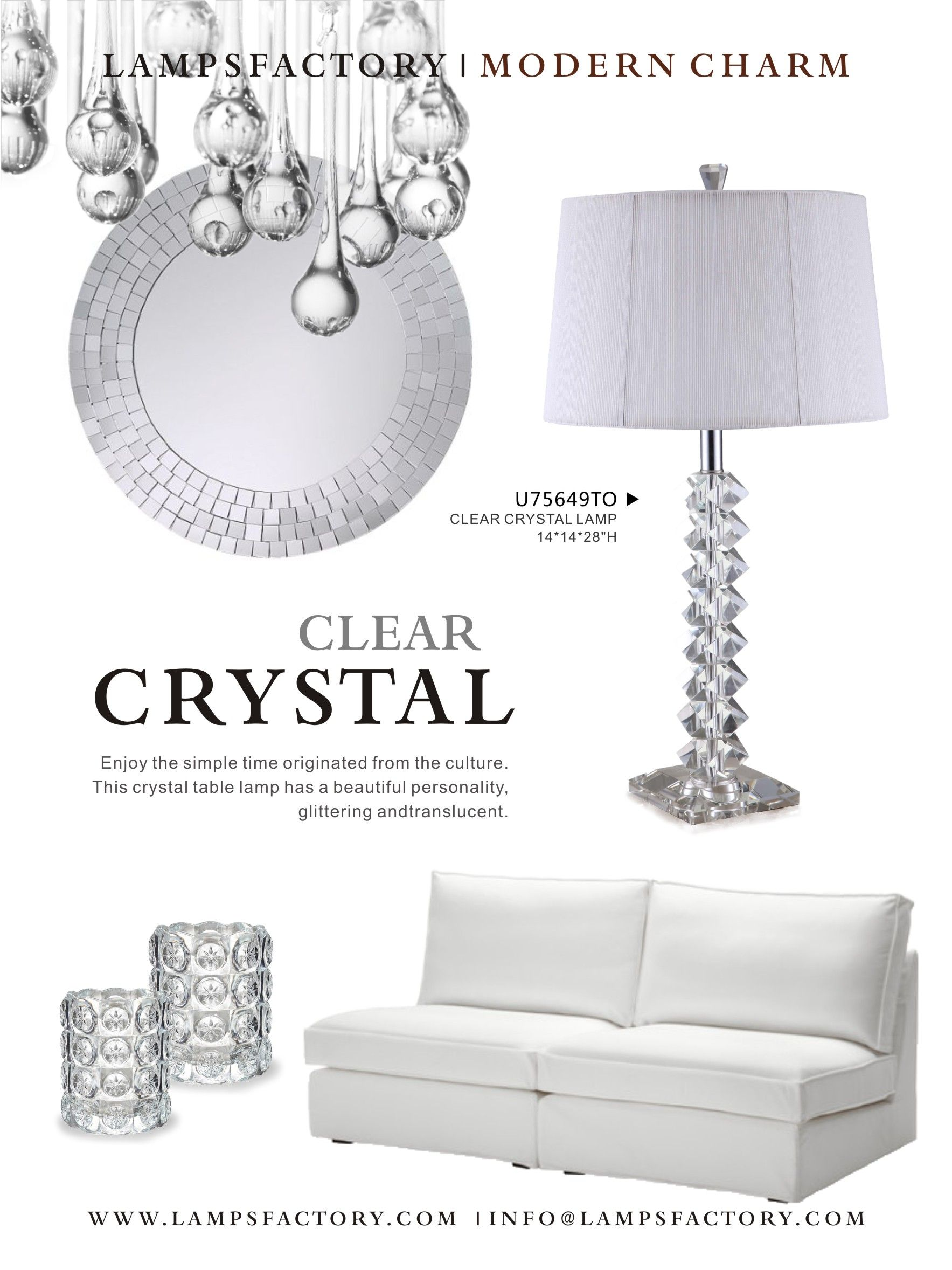 Enjoy the simple time originated from the culture.the crystal table lamp has a beautiful personality,glittering and translucent.