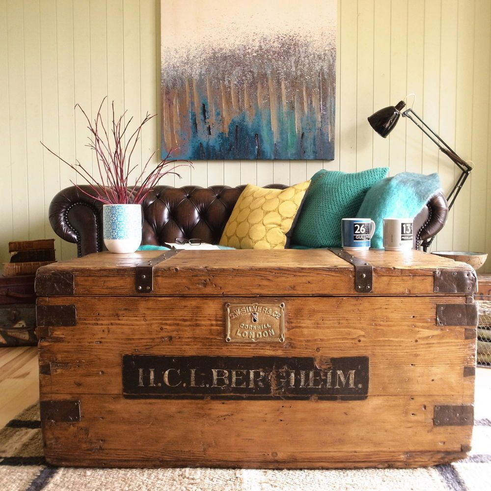 ANTIQUE Victorian PINE Military CAMPAIGN Trunk CHEST Industrial COFFEE TABLE