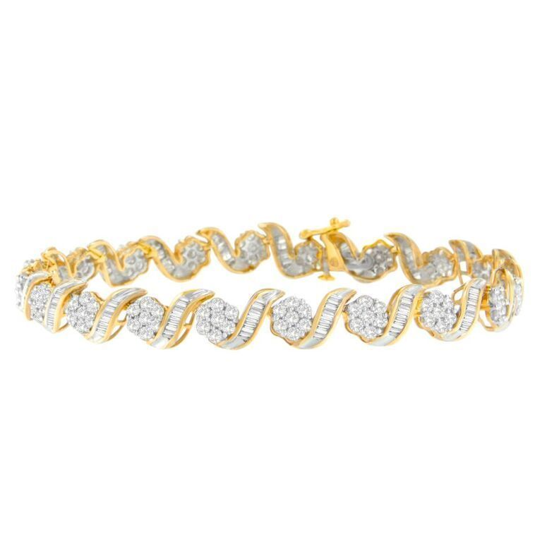 10K Gold 4ct TDW Round and Baguette Diamond Tennis Bracelet