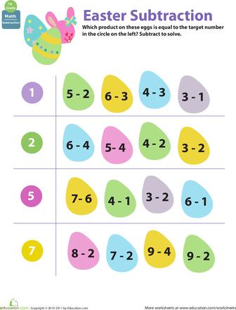 easter math egg subtraction. Black Bedroom Furniture Sets. Home Design Ideas