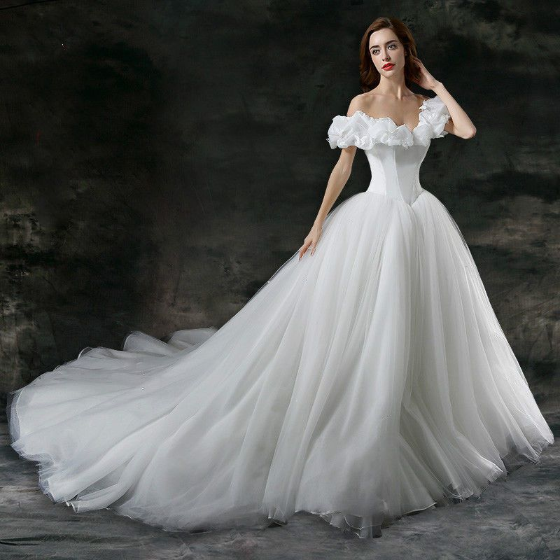 New Word-shoulder Wedding dress Bridal gown Cinderella dress Size 2 ...