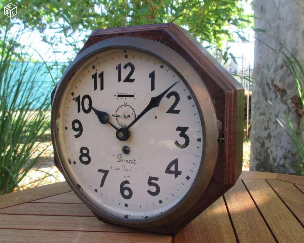 ancienne horloge pendule usine atelier ann e 30 40 d coration loire vintage. Black Bedroom Furniture Sets. Home Design Ideas