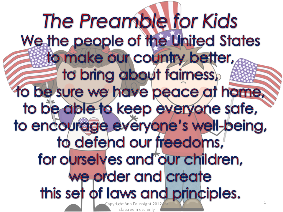Preamble for Kids, actual Preamble also available