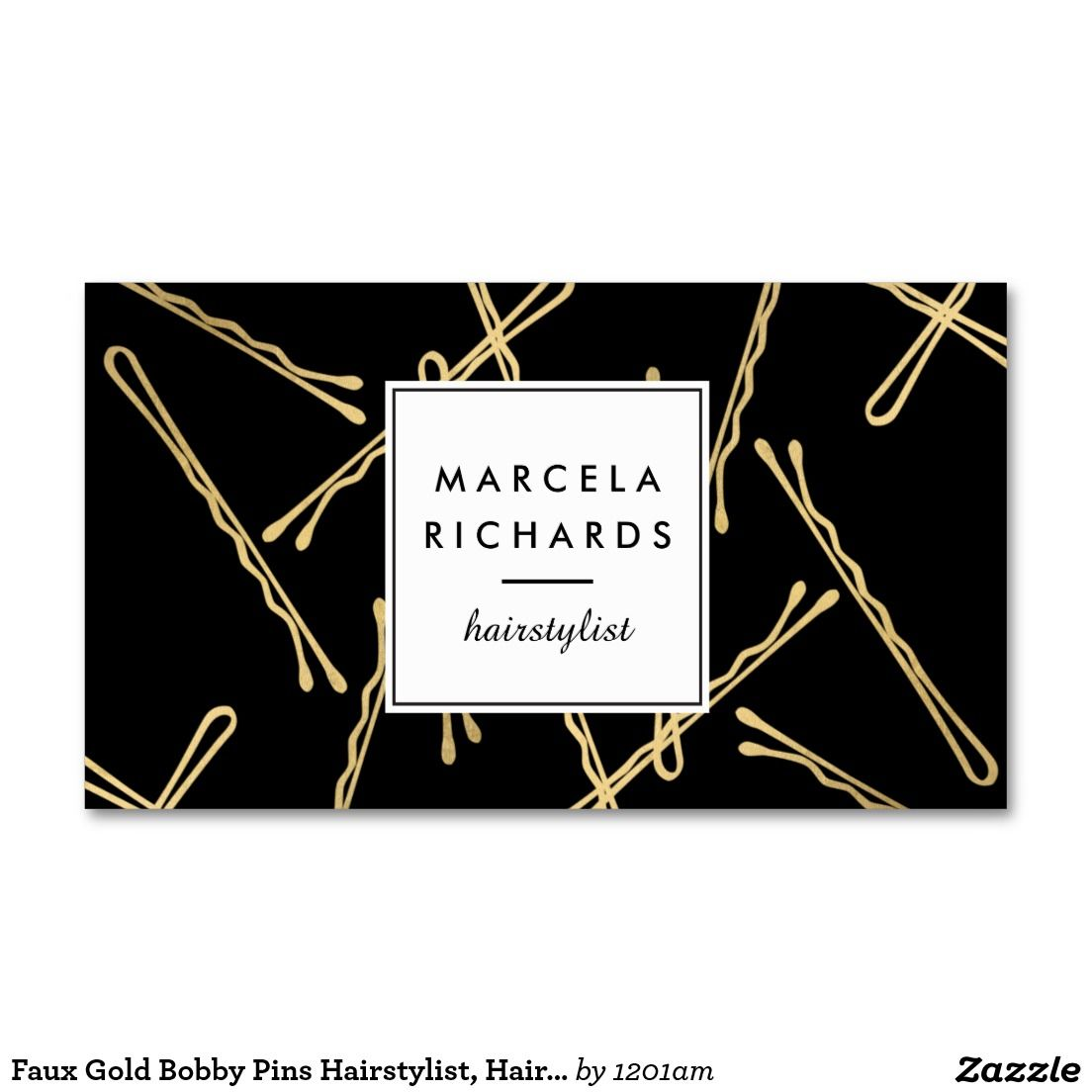 Chic Gold Bobby Pins Designer Business Cards for Hairstylists and ...