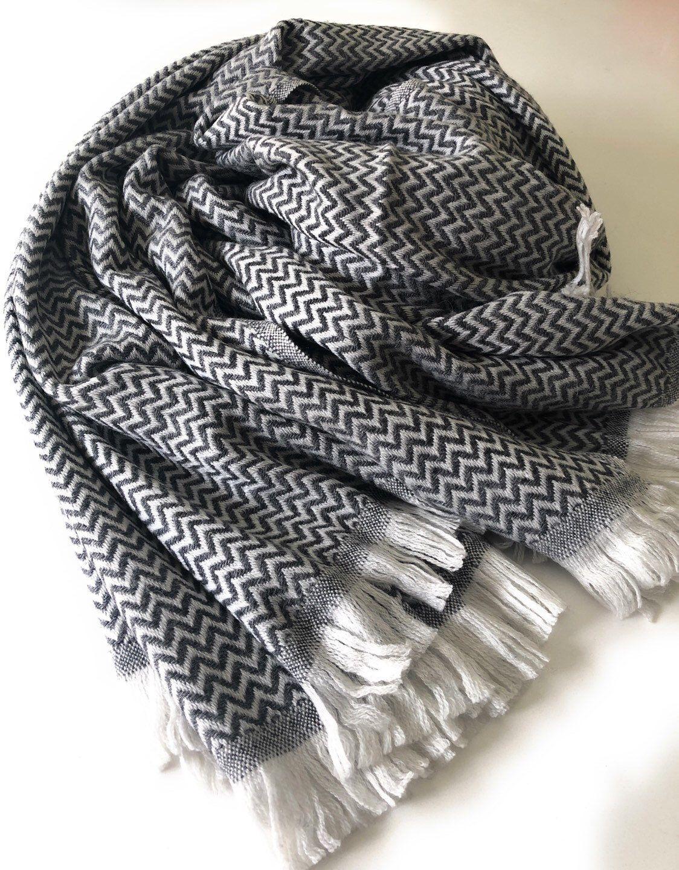 Photo of Handmade Pashmina throw-blanket-wrap-soft-delicate-warm-gift-Christmas gift-Off white-creme-grey-silver-herringbone
