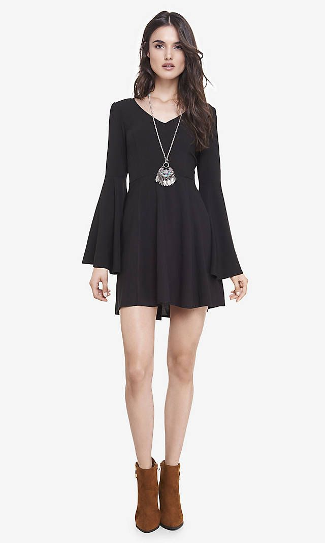 Black Bell Sleeve Fit And Flare Dress Express Feminine Allure