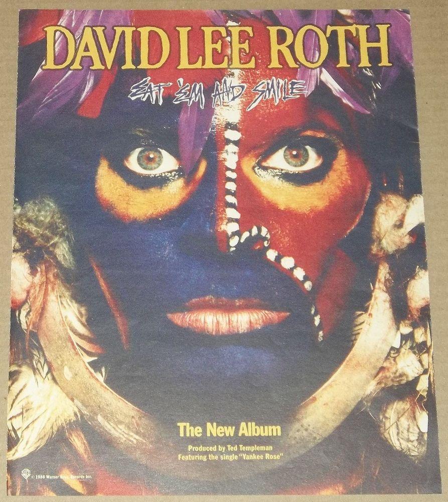David Lee Roth 1986 Eat Em And Smile Ad 12 X 10 Advertisement Van Halen Photo David Lee Roth David Lee Van Halen