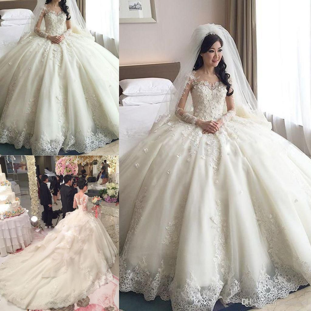 2016 lace wedding dresses long sleeve armonia beads tiered ball gown bridal dress cathedral train spring plus size wedding gowns