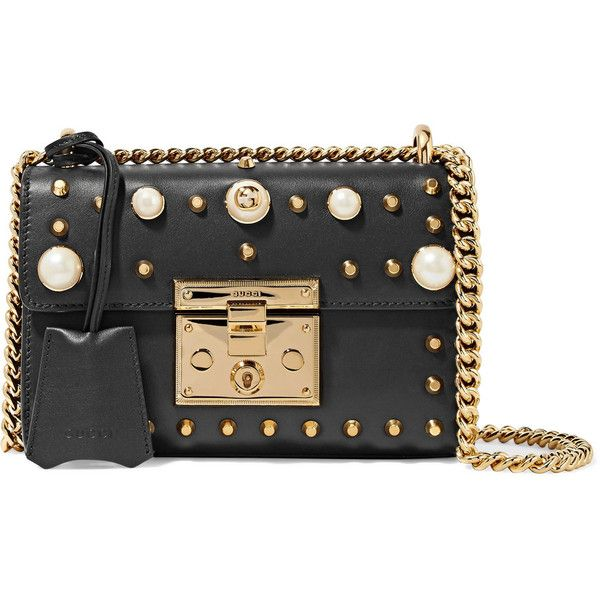 10365c920 Gucci Padlock small faux pearl-embellished studded leather shoulder...  found on Polyvore featuring bags, handbags, shoulder bags, gucci, black,  studded ...