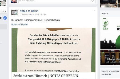 Dieser Brief einer Alleinerziehenden hatte eine Welle der Hilfsbereitschaft ausgelöst. Foto: Screenshot Facebook/Notes of Berlin