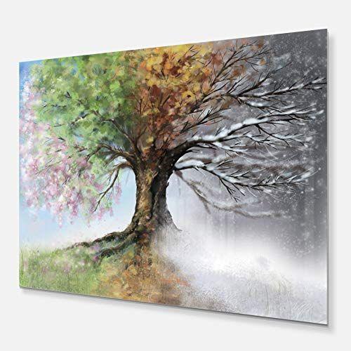 Designart Metal Wall Art Tree Painting Metal Wall Art 20x12 20x12 Green Decor Homedecor Home Decor Tree Painting Canvas Tree Painting Canvas Art Painting